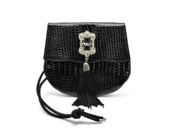 Leatherock by Nina Arjani Vintage 1990s Clutch Handbag Purse Black Croc Embossed Leather Silver Victorian Hardware Rock'n'Roll Steampunk USA