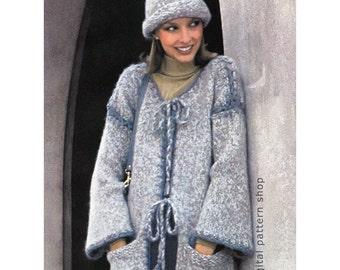 Long Coat & Hat Knitting Pattern Crochet Edging Womens Long Knit Sweater and Cap Downloadable Pattern PDF- K66