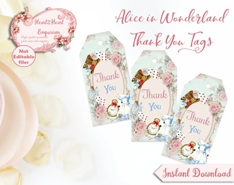 Alice in Wonderland Thank You Tags -  Alice Favor Tags - Printable Tags - Instant Download - Digital Tags - Wonderland Party - Mad Hatter