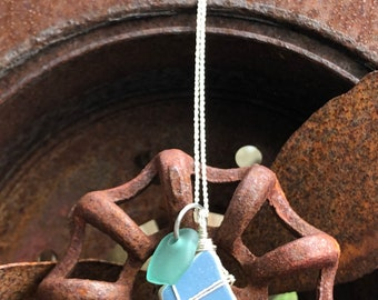 Sea Green Sea Glass & Blue Pottery Silver Necklace