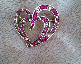 Valentine heart shaped brooch