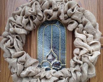 Plain burlap wreath