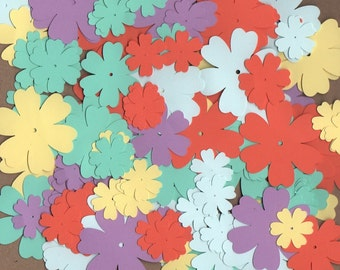 125 Flower Die Cuts Assorted Sizes Sugar Candy Colors