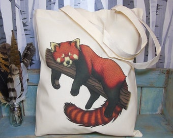 Red Panda Illustration Eco Tote Bag ~ 100% Cotton Long Handles