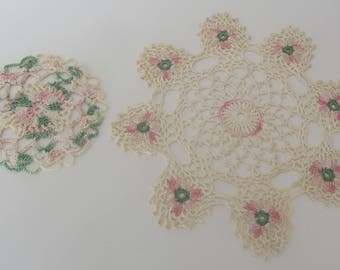 Vintage White Pink and Green doilies, Round doilies, Hand crocheted doilies