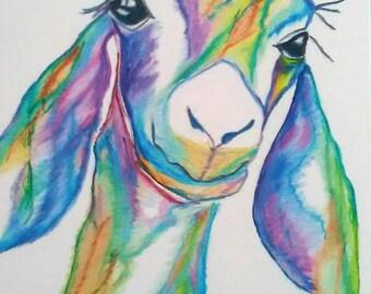 Goat Print, Goat Illustration, Print of Goat Drawing, Farm Animal Art, Nursery Animal Art
