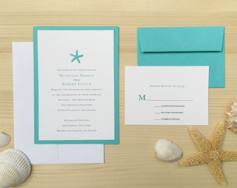 Starfish Beach Wedding Invite