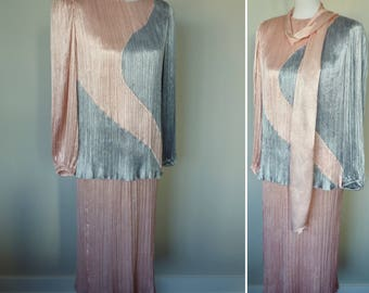 80s Fortuny Pleated Skirt and Blouse in Pink and Silver by Morton Myles for the Warrens