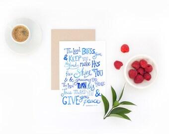 Bible Verse Card - Lord Bless and Keep You - Wedding Card, Christening Card, Graduation Card, Farewell Card