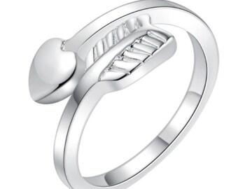 Silver Adjustable Arrow Heart Ring