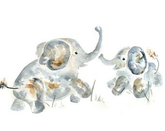 16x20 nursery print, Elephant Nursery, Large, Personalized Baby Decor, Custom, Gift for Baby Boy, Elephant Painting, Watercolor Nursery