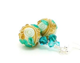 Teal Blue Earrings, Floral Earrings, Lampwork Earrings, Glass Earrings, Flower Earrings, Unique Earrings, Glass Bead Earrings