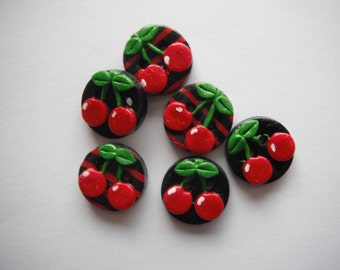 Button Black and Red Stripe Cherries handmade polymer clay buttons ( 6 )