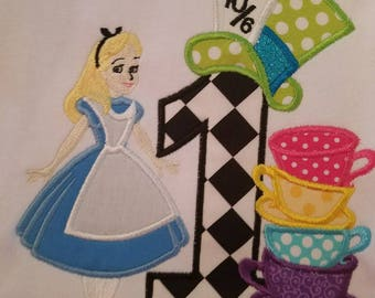 Alice in Wonderland Number 1 2 3 4 5 Birthday Shirt with Teacups and Mad Hatter Hat