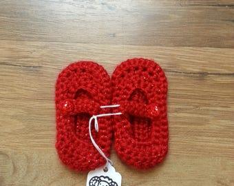 Crocheted newborn Mary Jane baby booties