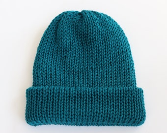 Knit Beanie Teal - Adult Winter Hat - Slouchy Knitted Hat - Blue Knit Hat - Womens Beanie - One Size Fits Most - Pagoda Knit Hat