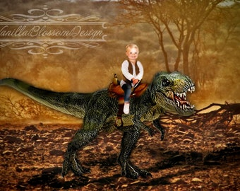 Digital background backdrop dinosaur t rex sitting child photography