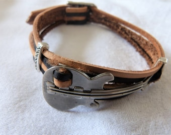 Bracelet leather, stainless steel guitar man