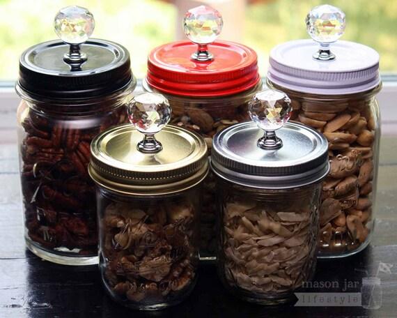 Decorative Mason Jar Lids Mason Jar Canister Lids 60pack Crystal Knob Lids for Regular 2