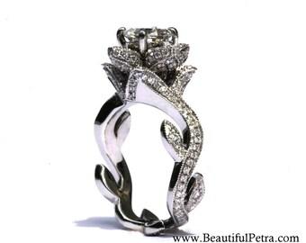 BLOOMING Work Of Art - Milgrain Flower Rose Lotus Diamond Engagement Ring - 1.75 carat - 14K white gold - brides - fL07 - Patented design