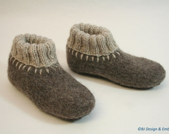 Washable Felt Slippers with leather soles to ORDER, sizes EU 25 - 30