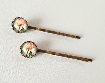 2 x Vintage Pink Rose Hair Grips, Pink Rose Bobby Pins, Flower Bobby Pins, Floral Bobby Pins, Pink Flower, Gift For Her, Gift For Women