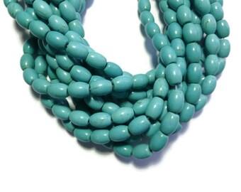 Blue Turquoise Magnesite - Barrel or Oval Bead - 10mm x 8mm - Full Strand - 38 beads - Sky Blue