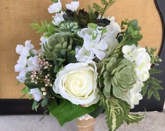 Wedding bouquet, Bridal bouquet, Wedding Accessory, Succulent bouquet, Greenery Bouquet, White and Ivory bouquet, Silk Wedding bouquet, boho
