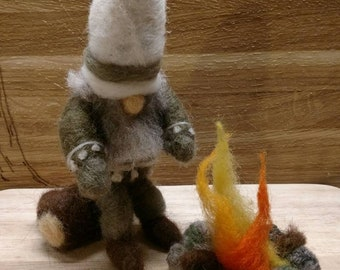 Artsy Woolser Gnome with Log and Campfire; Needle Felted Original Design Gnome with Campfire