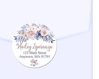 Personalized Address Labels / Dusty Rose Blue / Flower Bouquet / Custom Labels / Envelope Seal / Favor Labels / Wedding Labels / Stickers