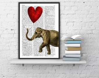 Elephant with a Heart shaped balloon print  Elephant in love Printed over vintage dictionary book page ANI083b