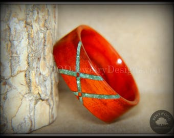 "Bentwood Ring - ""Routes"" African Padauk Wood Ring with South African Verdite Inlay"