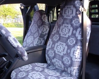 1 Set of Grey Southwest Print, seat covers and steering wheel cover, custom made.