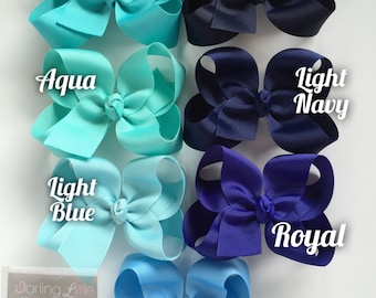 "Blue Bow, Blue Hairbow -- CHOOSE from 7 shades -- navy, light navy, royal, blue, light blue, aqua, turquoise -- 3"" 4"" 5"" or 6"" bow"