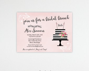 Bridal Shower Brunch Invitations, Bridal Lunch, Bridesmaids' Luncheon, Tea Party, Customized, Printable, Digital, BW11006
