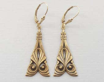 Antique Gold Art Deco Swirl Earrings, Ornate Earrings, Dangle Earrings, Deco Wedding, Plated or Gold Filled Wires