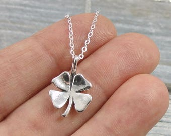 Four Leaf Clover Necklace, Sterling Silver Four Leaf Clover Shamrock Charm on a Silver Cable Chain
