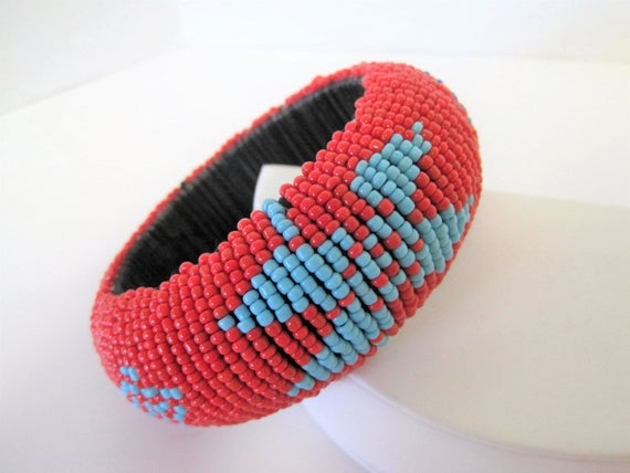 Native American Bangle, Coral Red Beaded, Turquoise Blue Black Beads, Lucite Backing