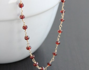 Mozambique Garnet Necklace, January Birthstone, Wire Wrapped Jewelry, Red Stone Necklace