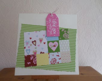 card with green paper and many hearts