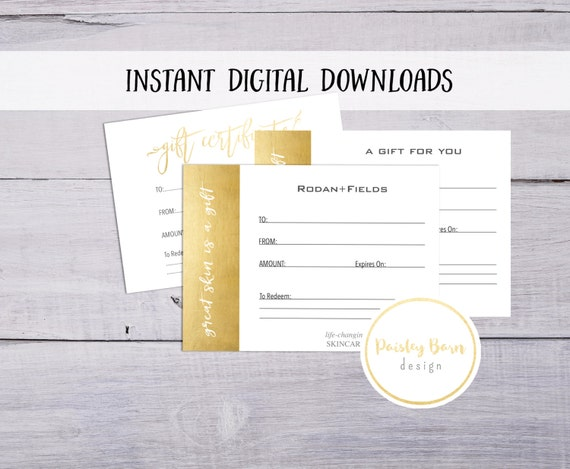 Gift Certificate Instant Digital Download | skincare business, Rodan and Fields, gold, white, simple, printable