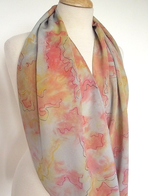 "Hand Dyed Silk Infinity Scarf - 15 x 60"", Grey, Gold and Rose with Black Graphic Lines, Luxurious Silk Crepe"