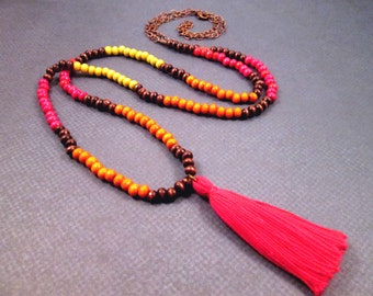 Tassel Necklace, Wood Beaded and Copper Chain Necklace, Yellow Orange Pink and Brown, Extra Long Boho Necklace, FREE Shipping U.S.