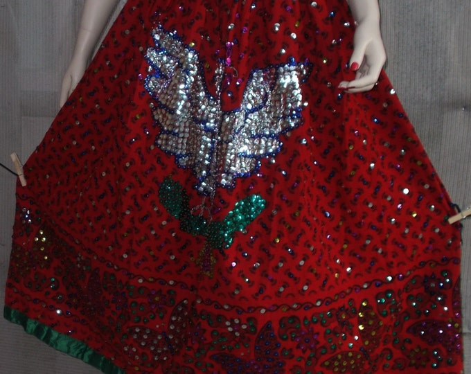 Vintage 50s Bollywood Red Green Silver Beads Sequin Felt Bohemian Ethnic Festival Gypsy Womens Full Length Maxi Skirt