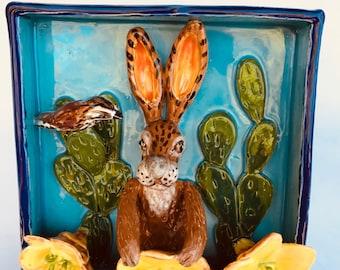 Rabbit art, whimsy art, ceramic rabbit sculpture, ceramic shadow box, cactus wren bird, southwest art, jackrabbit, folk art, home decor