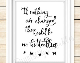 If nothing ever changed, there would be no butterflies, printable wall art, inspiring quote, butterfly silhouette, quote about change