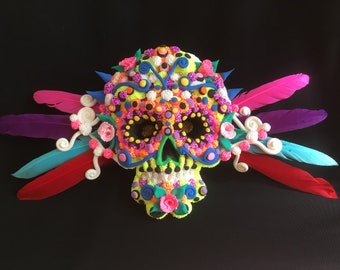 Day Of The Dead Skull Clay Model With Feathers
