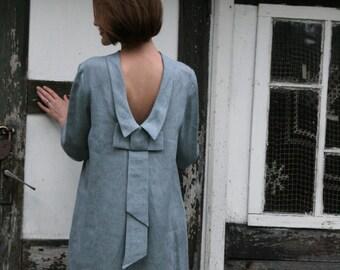 Linen Dress With Bow at Back/Linen Elegant Dress/ Linen Dress Midi/ Knee Length Dress With Open Back / Dress Eco Friendly