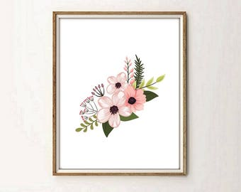 floral print, floral decor, nursery decor, modernist art, modernist decor, nursery, flowers print, flowers art, 5 SIZES INCLUDED.