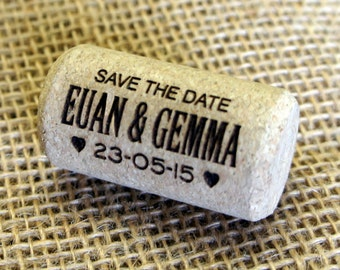 "Personalised engraved ""Save the Date"" Corks"" - Sold as bags of 20 corks (20 being the minimum order)"